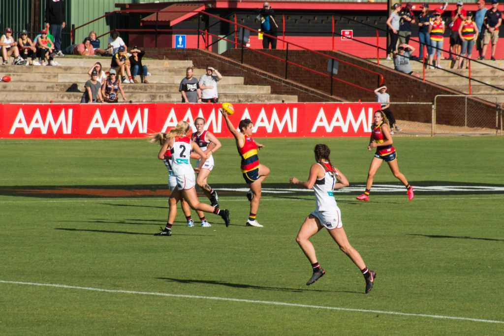 Courtney Gum takes a one handed mark against the Saints. AFLW Trade and Sign. Image: Dani Brown