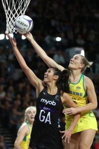 AUCKLAND, NEW ZEALAND - OCTOBER 16: Ameliaranne Ekenasio of New Zealand (L) and Courtney Bruce of Australia contest the ball during the 2019 Constellation Cup match between the New Zealand Silver Ferns and the Australia Diamonds at Spark Arena on October 16, 2019 in Auckland, New Zealand. (Photo by Phil Walter/Getty Images)