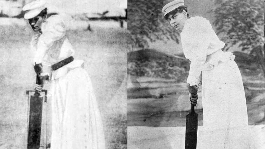 Image is two black and white photos side by side. In each, a woman poses with a cricket bat in the batting stance. They both wear white caps and white long sleeved dresses.