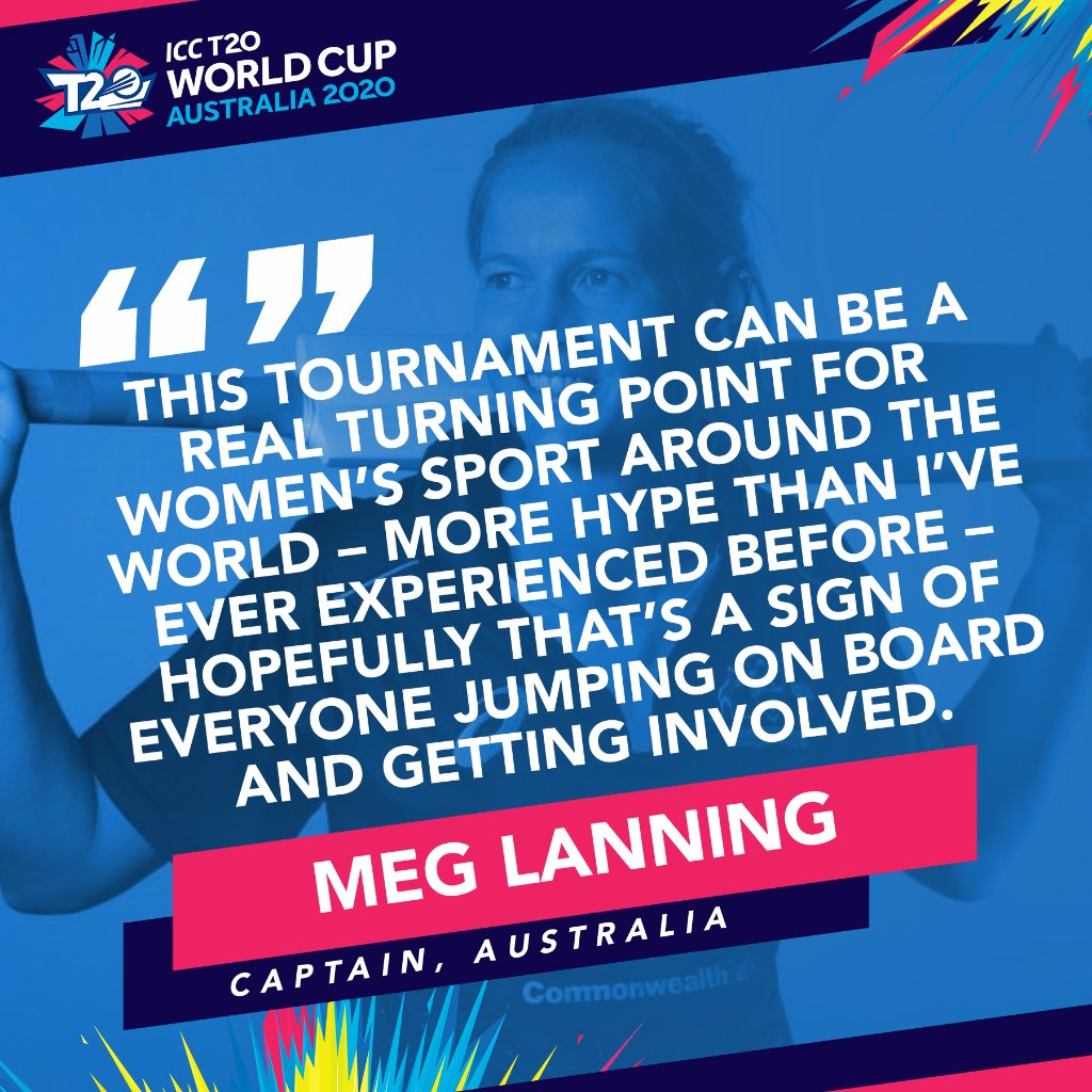 """Quote from Australian cricket captain Meg Lanning, """"This tournament can be a real turning point for women's sport around the world - more hype than I've ever experienced before - hopefully that's a sign of everyone jumping on board and getting involved."""""""