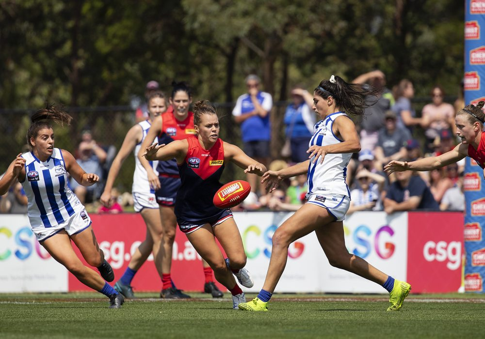 Vivien Saad gets a kick away against Melbourne. Image: Megan Brewer