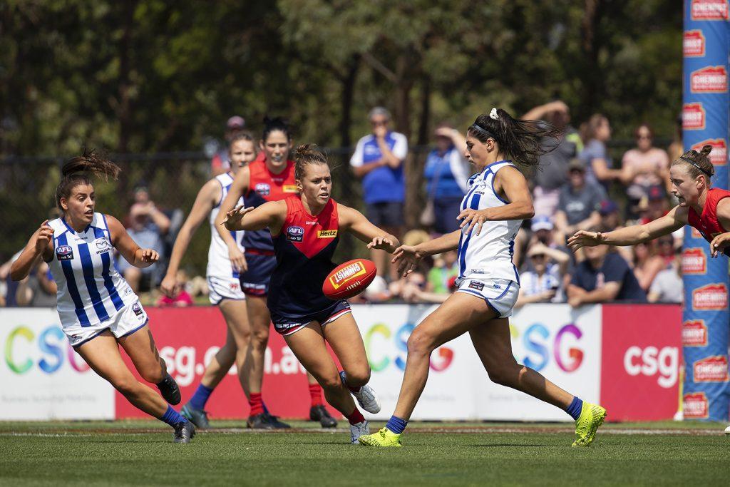 Vivien Saad gets a kick away against Melbourne. AFLW off-season news. Image: Megan Brewer