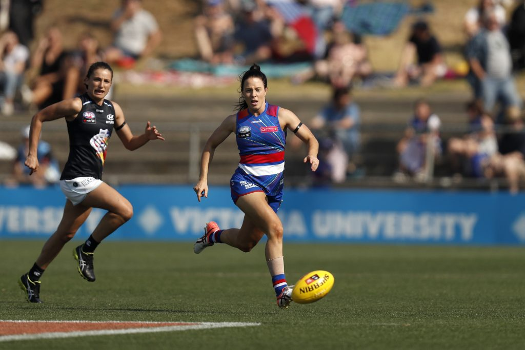 MELBOURNE, AUSTRALIA - MARCH 17: during the 2019 NAB AFLW Round 07 match between the Western Bulldogs and the Carlton Blues at VU Whitten Oval on March 17, 2019 in Melbourne, Australia. (Photo by Michael Willson/AFL Media)