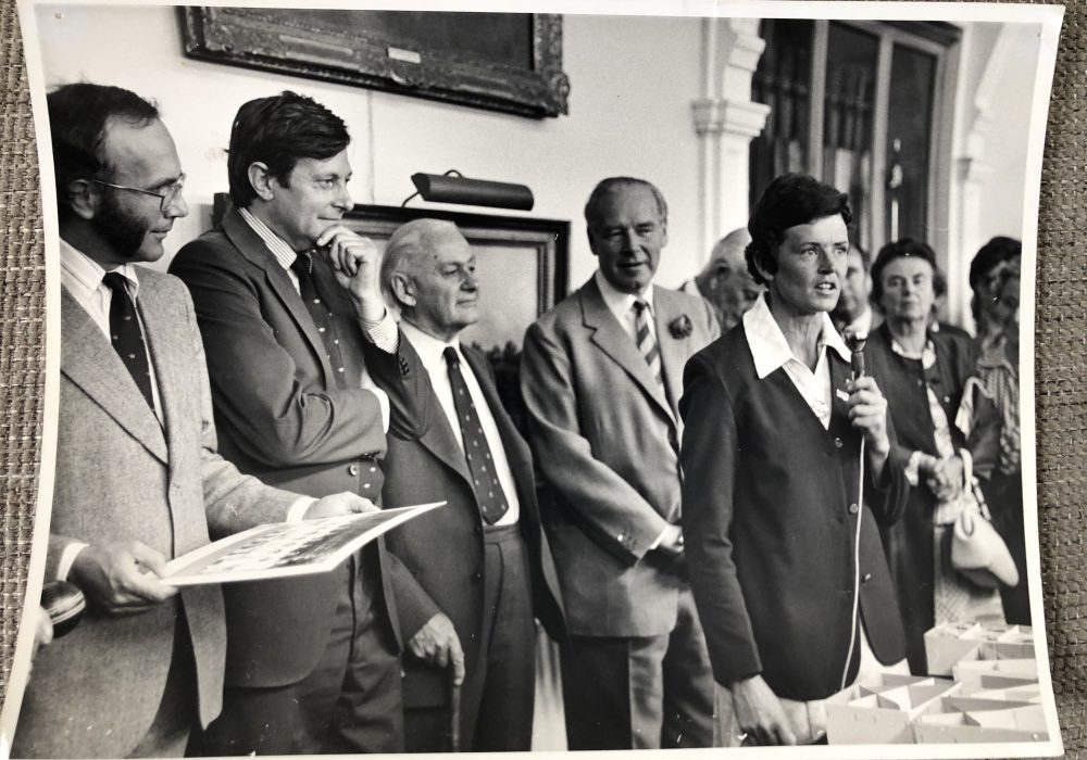 Anne Gordon speaks at Lords after the historic 1976 match. Image: Anne Gordon