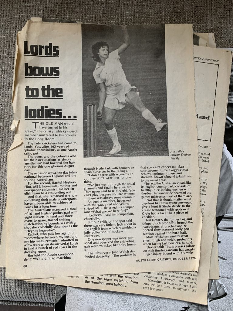 Image is of newspaper clippings from the 1976 tour when Australia played England at Lords. Siren Sport. Anne Gordon.