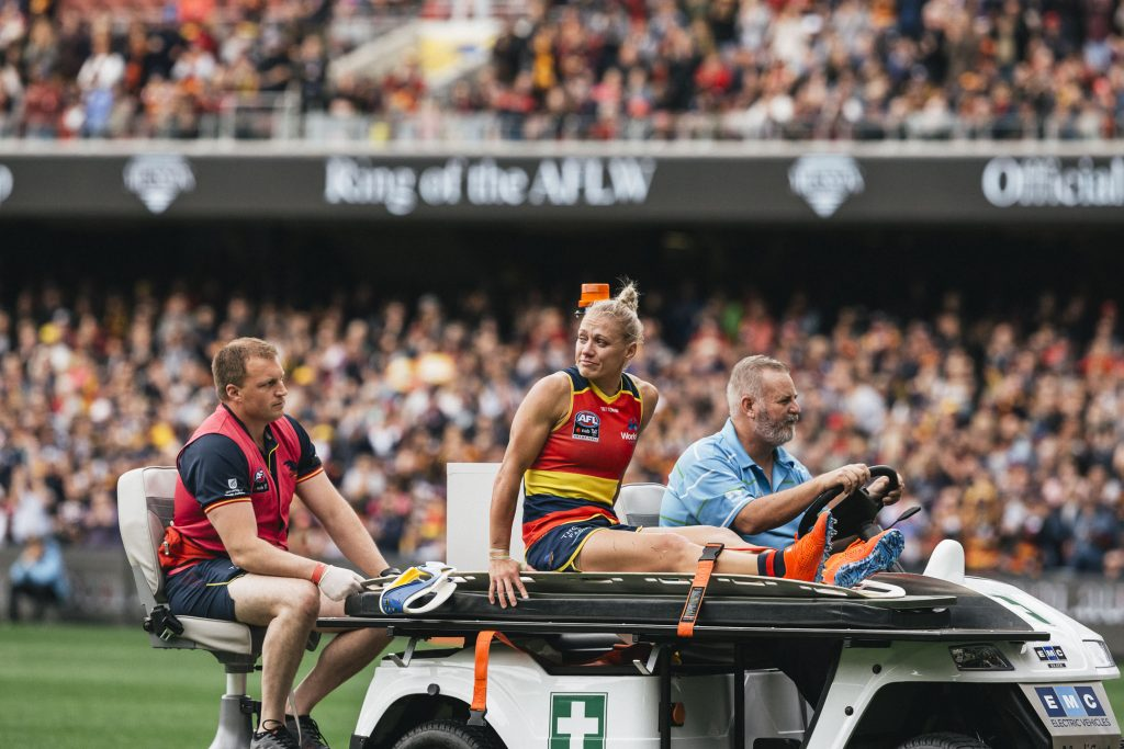 Erin Phillips is carted off during the 2019 grand final. Image: She Scores