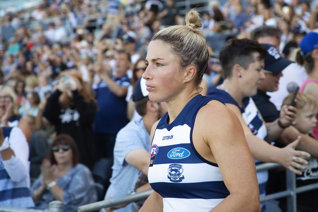 Melissa Hickey leads the Cats out. Image: Megan Brewer