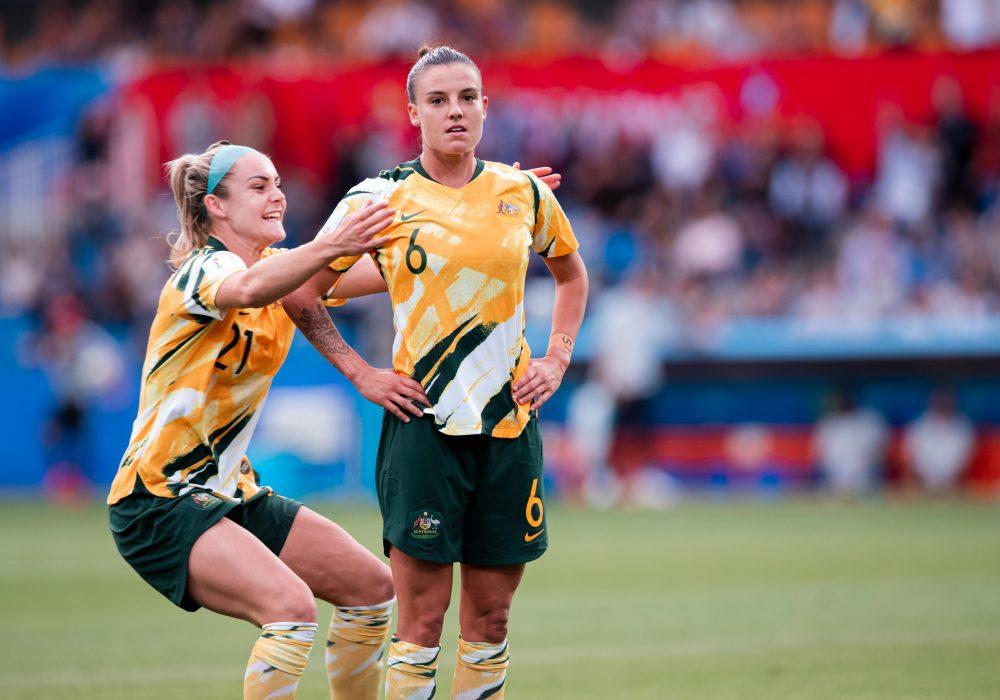 Chloe Logarzo celebrates a goal against Brazil at the World Cup. Matildas vs Brazil, FIFA World Cup, 13 June 2019. Image: Rachel Bach / By The White Line