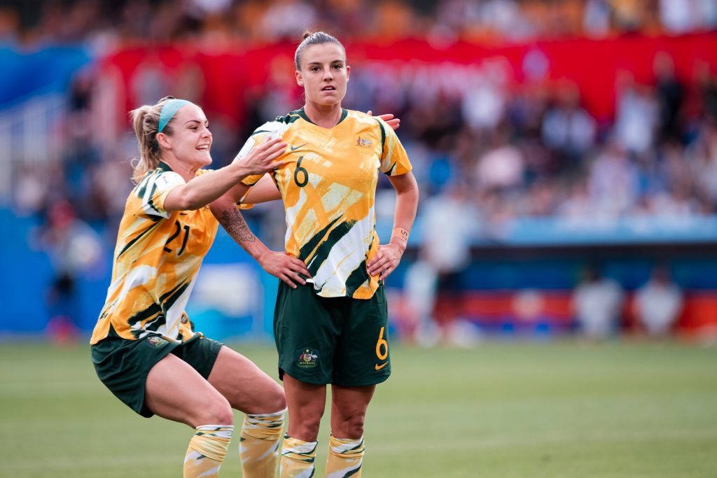 Chloe Logarzo celebrates a goal against Brazil at the World Cup. Matildas vs Brazil, FIFA World Cup, 13 June 2019. Image: Rachel Bach / By The White Line