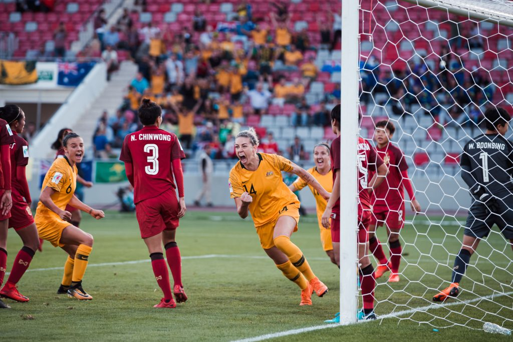 Alanna Kennedy scores a late equaliser to keep the Matildas' Asian Cup hopes alive. Matildas vs Thailand, 17 April 2018. Image: Rachel Bach