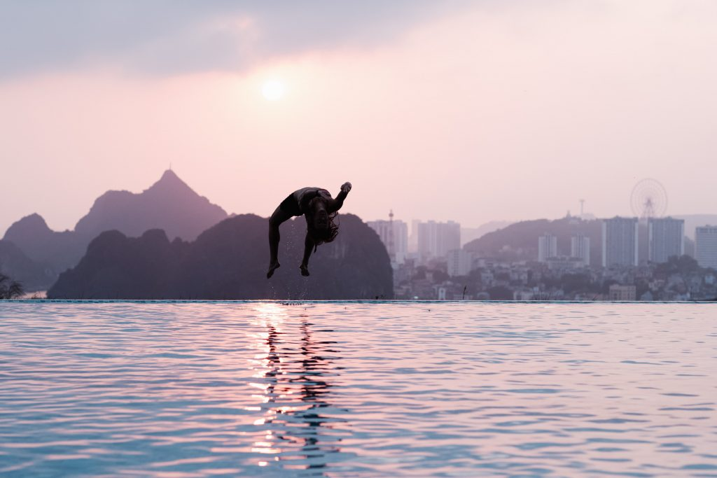 Aivi Luik backflips during a recovery session in Ha Long Bay before the Matildas' Olympic qualifier. 8 March 2020. Image: Rachel Bach