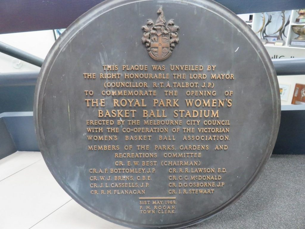 Image is of a plaque commemorating the opening of the Royal Park Women's Basketball (netball) Stadium in 1968. Image: Netball Victoria.