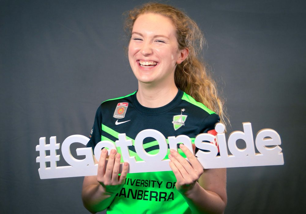 Angela Christian-Wilkes during the #GetOnside campaign that launched the Australia/New Zealand Women's World Cup bid. Image: Ann Odong