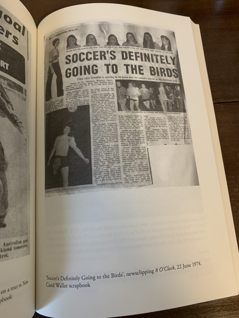 Image is from a page within Women in Boots: Football and Feminism in the 1970s. The page features an image of a newspaper cutting. The headline reads: soccer's definitely going to the birds'.