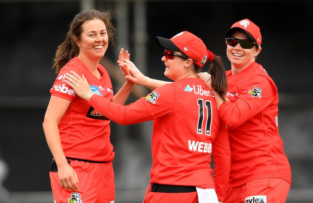 Molly Strano celebrates a wicket with Melbourne Renegades teammates Jess Duffin and Courtney Webb. Image: Cricket Australia