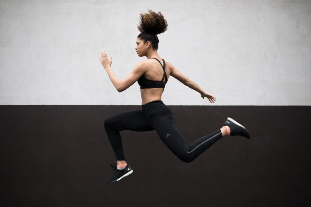 Photo: Aurore Fouchez. Ysaora Thibus leaping in the air.