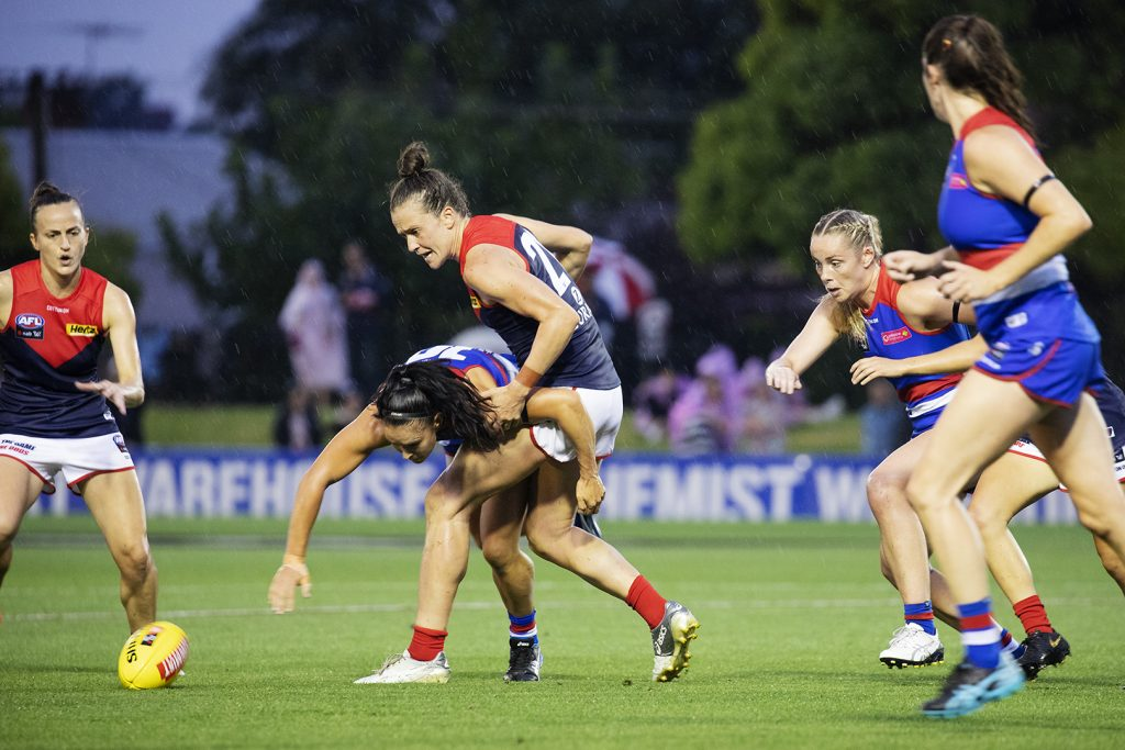 AFLW Trade. Harriet Cordner takes on the Bulldogs in her final year at the Dees. Image: Megan Brewer