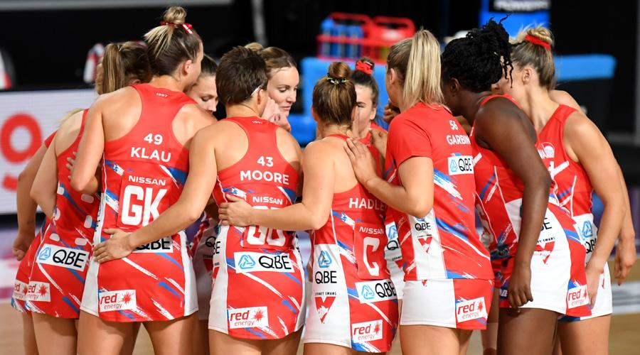 The NSW Swifts gather for a pep talk. Super Netball Round One. Image: Suncorp Super Netball