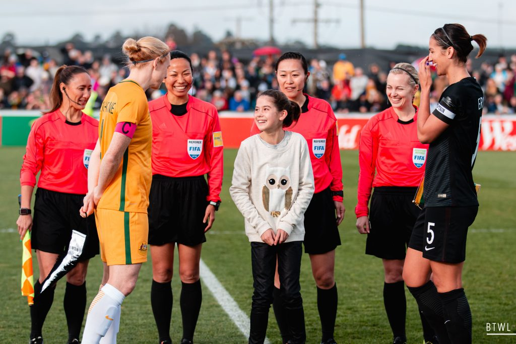 A lighter moment during the coin toss. Image by Rachel Bach (@bythewhiteline) Photographing the Matildas