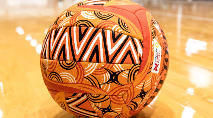 Super Netball Indigenous round ball, artwork by Wurundjeri/Yorta-Yorta woman Simone Thomson