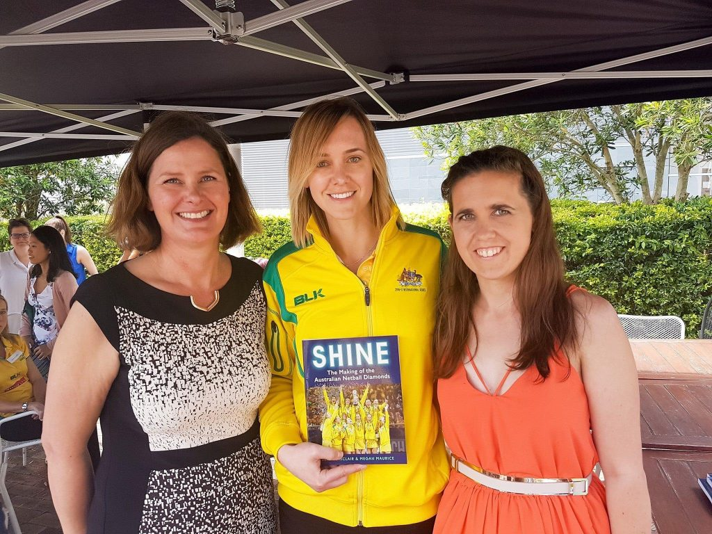Megan Maurice and Jenny Sinclair celebrate the release of their book 'Shine' with Nat Medhurst. Image: Supplied
