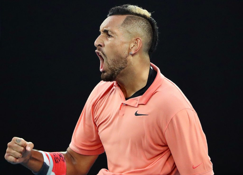Nick Kyrgios celebrates during his 3 hour and 38 min match against Rafael Nadal in the 2020 Australian Open : 6-3, 3-6, 7-6 (8/6), 7-6 (7/4)
