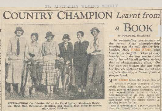Image is a black and white clipping from a newspaper. The headline reads 'Country champion learnt from a book'. On the left, under the headline, is a photograph of six women golfers.