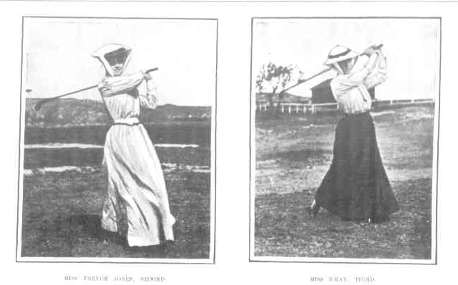 Image is a black and white clipping taken from The Australasian newspaper in 1906. The image features two photographs of women playing golf.
