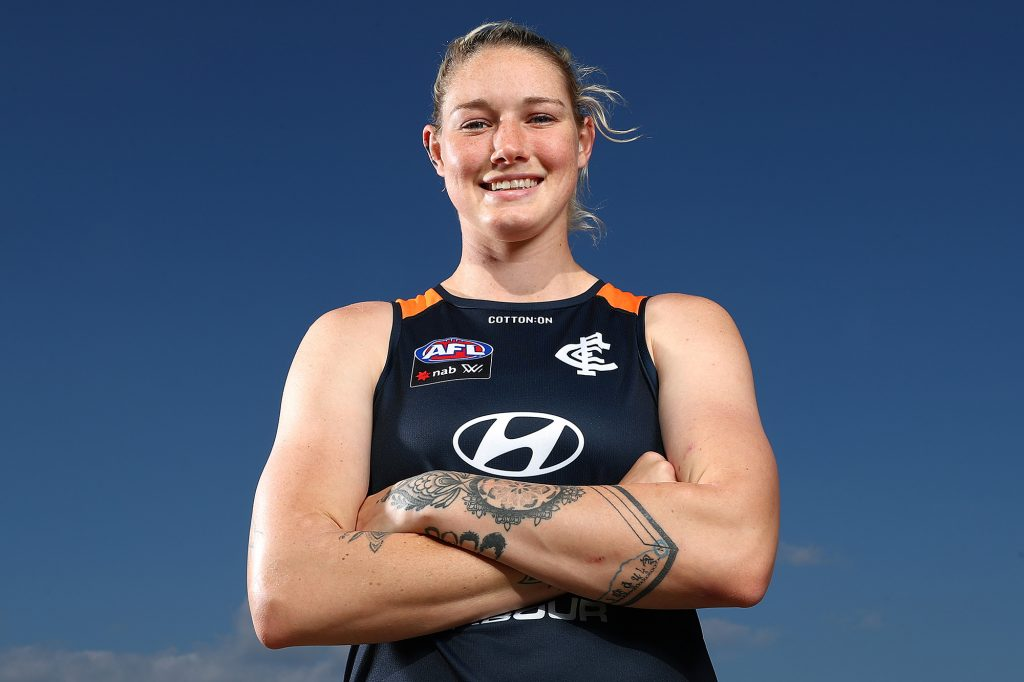 Tayla Harris poses for a portrait ahead of a Carlton training session. (Photo by Kelly Defina/Getty Images)
