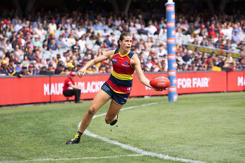 Chelsea Randall in action for the Crows. Image: Megan Brewer Women in sport photography
