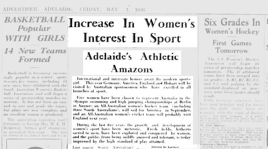 Image is of an article from The Advertiser from the Trove Australia archive. The article is written by Lois Quarrell and is titled 'Increase in Women's Interest in Sport'. The subheading is Adelaide's Athletic Amazons'.