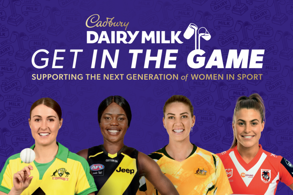Tayla Vlaeminck, Akec Makur Chuot, Alanna Kennedy and Jess Sergis are ambassadors of Cadbury's Get In The Game initiative