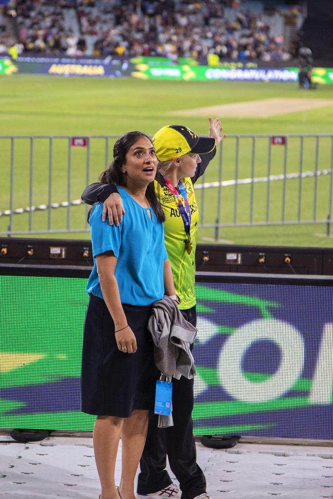 Lisa Sthalekar and Alyssa Healy bask in the atmosphere once the match was over. Image: Megan Brewer T20 World Cup