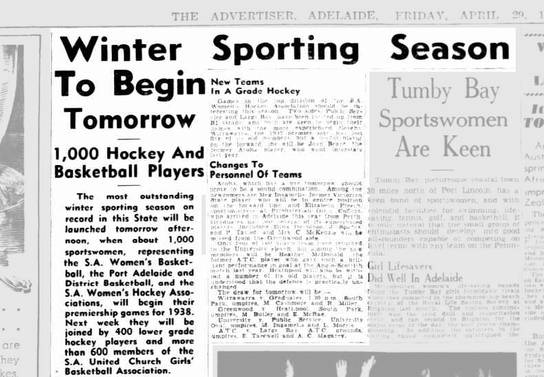 Image is of an article from The Advertiser from the Trove Australia archive. The article is written by Lois Quarrell. The headline is 'Winter Sporting Season to Begin Tomorrow'. The subheading reads '1000 hockey and basketball players'.