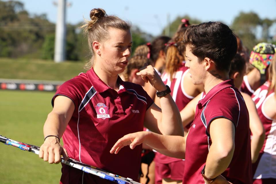 Brittany Gibson and Sam Virgo coaching Queensland's State rep team. Supplied: Sam Virgo