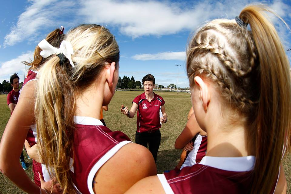 Sam Virgo coaches both Queensland State rep teams and at her own QAFLW club, Yeronga South Brisbane. Supplied: Sam Virgo