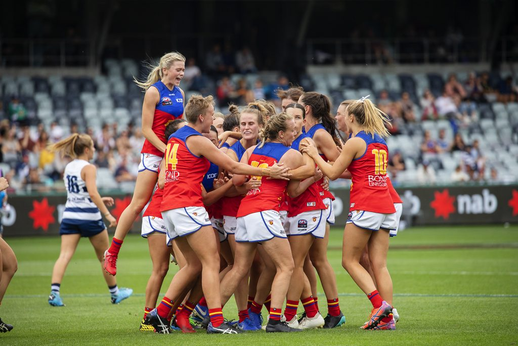 The Lions celebrate a goal in 2020. Image: Megan Brewer