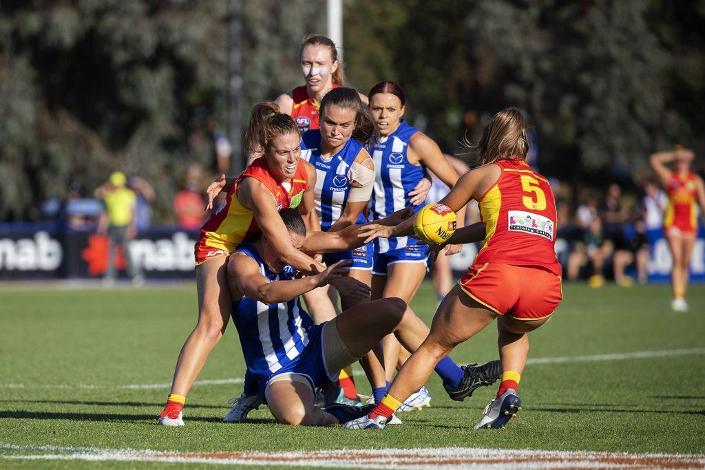 Jamie Stanton takes on her old team. Image: Megan Brewer