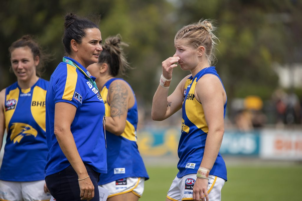 Michelle Cowan was West Coast's forward line coach in 2020. Image: Megan Brewer