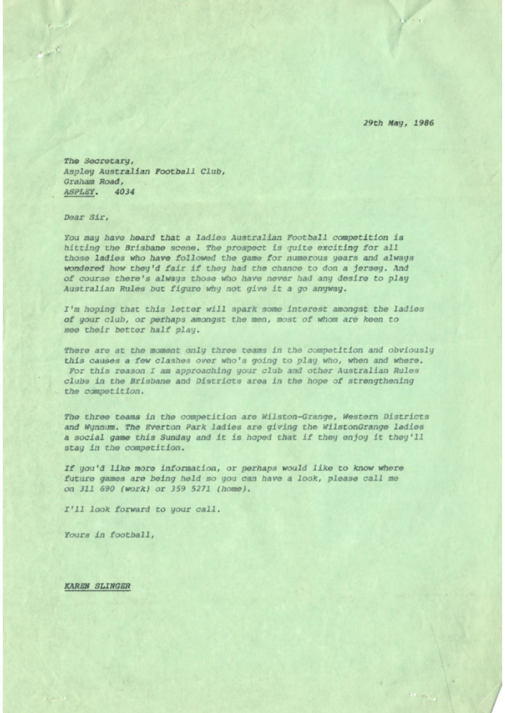 Karen Russell's letter to Brisbane clubs in 1986
