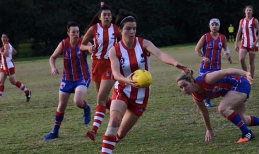 Sam Virgo in action for Griffith-Moorooka early in her playing days. Supplied: Murray Bird