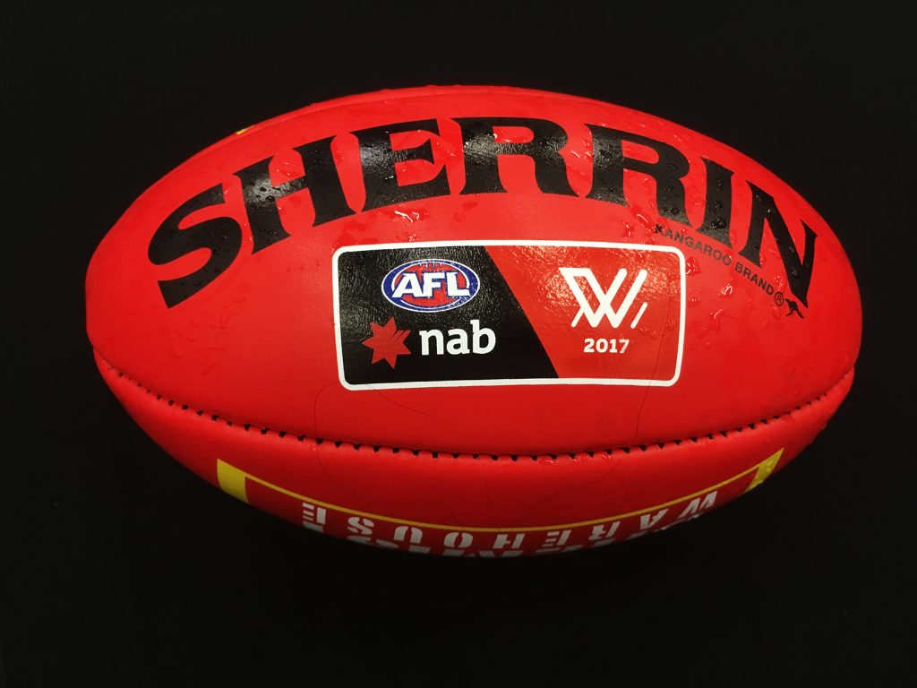 Match-used Sherrin from the 2017 AFLW season. Image: Megan Brewer