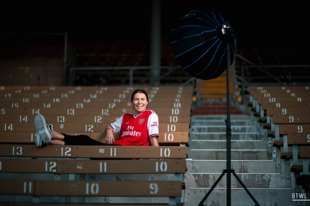 A lighter moment with Steph Catley during her Arsenal signing photoshoot. Image: Rachel Bach / By The White Line