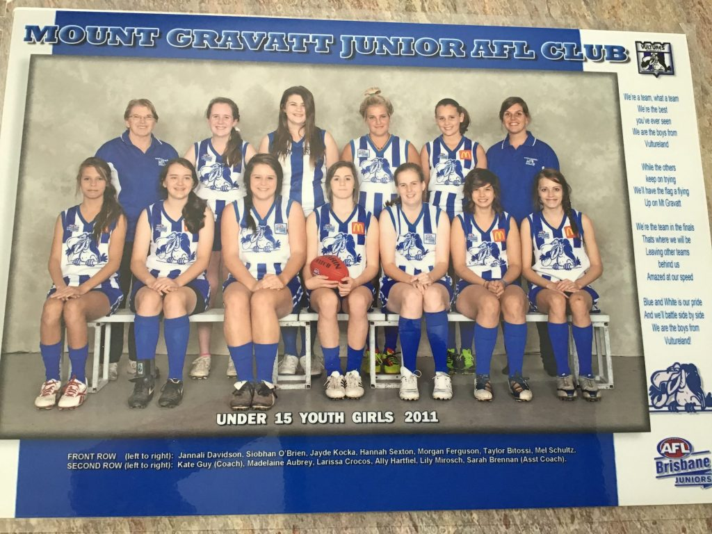 Kate Guy's U15 Mt Gravatt Youth Girls Team of 2011. Supplied: Kate Guy