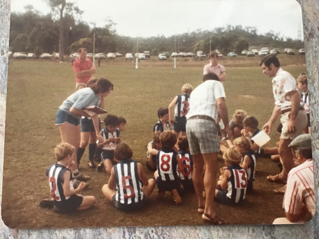 Kate Guy coaching junior boys back in the 1970s. Supplied: Kate Guy