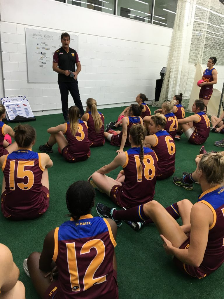 Craig Starcevich addresses Lions players at halftime of the 2016 Queensland exhibition match. Supplied: Michael Swann / Bond Sport
