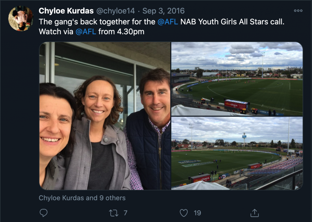 Chyloe Kurdas tweets about the NAB Youth Girls All Stars match from 2016, which she was calling with Julia Price and Craig Starcevich