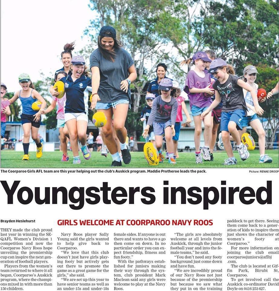 Coorparoo's girls and women's program received local news coverage. Supplied: Sally Young