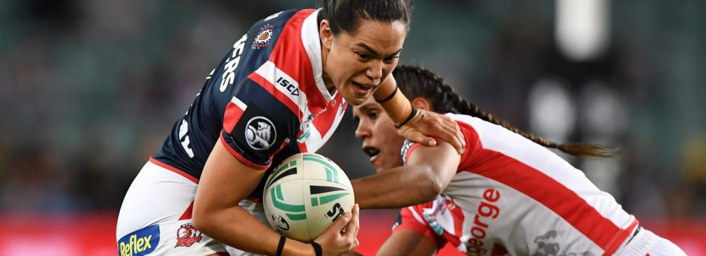 Shontelle Stowers breaks a tackle in her time at the Sydney Roosters. Image: NRL
