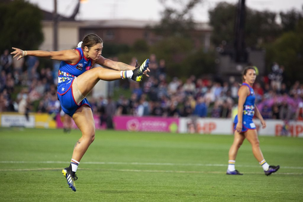 Ellie Blackburn led her team from the front again in AFLW Round Two Image: Megan Brewer